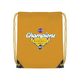 Nylon Gold Drawstring Backpack-Baseball SoCon Champions 2017 - Banner w/ Plate