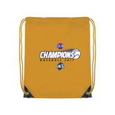Nylon Gold Drawstring Backpack-Baseball SoCon Champions 2017 - Ball in Motion