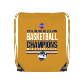 Nylon Gold Drawstring Backpack-2017 SoCon Regular Season Basketball Champions - Stacked