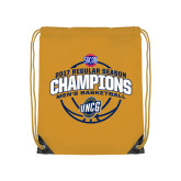 Gold Drawstring Backpack-2017 SoCon Regular Season Basketball Champions - Arched