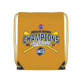 Nylon Gold Drawstring Backpack-2017 SoCon Regular Season Softball Champions - Crossed Bats