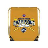 Nylon Gold Drawstring Backpack-2017 SoCon Regular Season Softball Champions - Crossed Bats