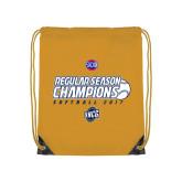 Nylon Gold Drawstring Backpack-2017 SoCon Regular Season Softball Champions - Ball