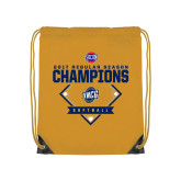 Nylon Gold Drawstring Backpack-2017 SoCon Regular Season Softball Champions - Diamond