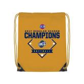 Nylon Gold Drawstring Backpack-2017 SoCon Regular Season Softball Champions - Diamond