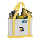 Contender White/Gold Canvas Tote-Spartan Logo