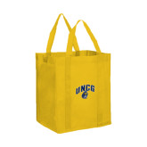 Non Woven Gold Grocery Tote-Arched UNCG w/Spartan