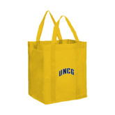 Non Woven Gold Grocery Tote-Arched UNCG