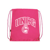 Nylon Pink Drawstring Backpack-Arched UNCG w/Spartan