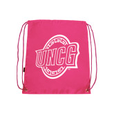 Pink Drawstring Backpack-UNCG Shield