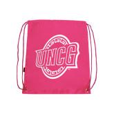Nylon Pink Drawstring Backpack-UNCG Shield