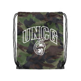Nylon Camo Drawstring Backpack-Arched UNCG w/Spartan