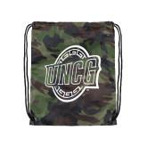 Nylon Camo Drawstring Backpack-UNCG Shield