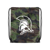 Camo Drawstring Backpack-Spartan Logo