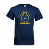 Navy T Shirt-Stacked Basketball