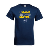 Navy T Shirt-Game Set Match - Tennis Design