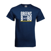 Navy T Shirt-Greensboro Stacked with Shield