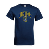 Navy T Shirt-Arched UNCG w/Spartan