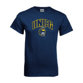 Navy T Shirt-Arched UNCG w/Spartan Distressed