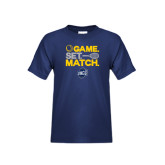 Youth Navy T Shirt-Game Set Match - Tennis Design