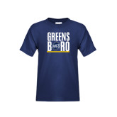 Youth Navy T Shirt-Greensboro Stacked with Shield