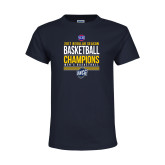 Youth Navy T Shirt-2017 SoCon Regular Season Basketball Champions - Stacked