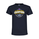 Youth Navy T Shirt-2017 SoCon Regular Season Basketball Champions - Arched