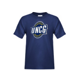 Youth Navy T Shirt-UNCG Shield