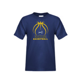 Youth Navy T Shirt-Stacked Basketball