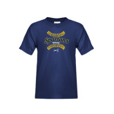 Youth Navy T Shirt-Softball Ball Design