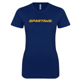 Next Level Ladies SoftStyle Junior Fitted Navy Tee-Spartans Wordmark