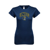 Next Level Ladies SoftStyle Junior Fitted Navy Tee-Arched UNCG w/Spartan