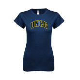 Next Level Ladies SoftStyle Junior Fitted Navy Tee-Arched UNCG