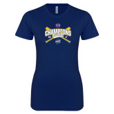 Next Level Ladies SoftStyle Junior Fitted Navy Tee-Baseball SoCon Champions 2017 - Crossed Sticks