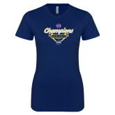 Next Level Ladies SoftStyle Junior Fitted Navy Tee-Baseball SoCon Champions 2017 - Banner w/ Plate