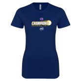 Next Level Ladies SoftStyle Junior Fitted Navy Tee-Baseball SoCon Champions 2017 - Ball in Motion