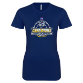 Next Level Ladies SoftStyle Junior Fitted Navy Tee-2017 SoCon Regular Season Basketball Champions - Banner