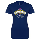 Next Level Ladies SoftStyle Junior Fitted Navy Tee-2017 SoCon Regular Season Basketball Champions - Arched