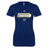Next Level Ladies SoftStyle Junior Fitted Navy Tee-2017 SoCon Regular Season Softball Champions - Ball
