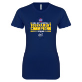 Next Level Ladies SoftStyle Junior Fitted Navy Tee-2018 Mens Basketball Champions - Stacked