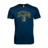 Next Level SoftStyle Navy T Shirt-Arched UNCG w/Spartan