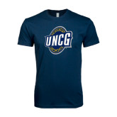 Next Level SoftStyle Navy T Shirt-UNCG Shield