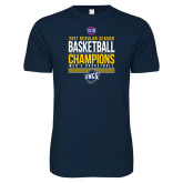 Next Level SoftStyle Navy T Shirt-2017 SoCon Regular Season Basketball Champions - Stacked