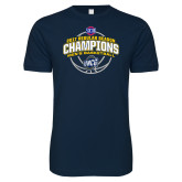 Next Level SoftStyle Navy T Shirt-2017 SoCon Regular Season Basketball Champions - Arched