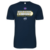 Next Level SoftStyle Navy T Shirt-2017 SoCon Regular Season Softball Champions - Ball