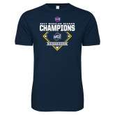 Next Level SoftStyle Navy T Shirt-2017 SoCon Regular Season Softball Champions - Diamond