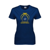 Ladies Navy T Shirt-Stacked Basketball