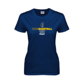 Ladies Navy T Shirt-Basketball Net Design