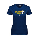 Ladies Navy T Shirt-Soccer Ball Design