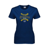 Ladies Navy T Shirt-Softball Ball Design